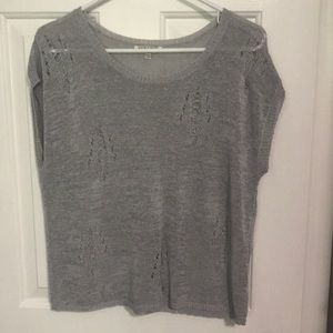 Distressed front sweater